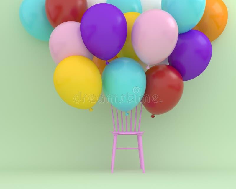 Bunte Ballone, die mit rosa Stuhl auf grüne Farbe-backgr schwimmen lizenzfreie abbildung
