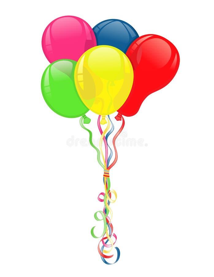 Bunte Ballone für Partyfeiern stock abbildung
