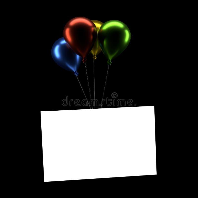 Bunte Ballone mit einer leeren Karte vektor abbildung