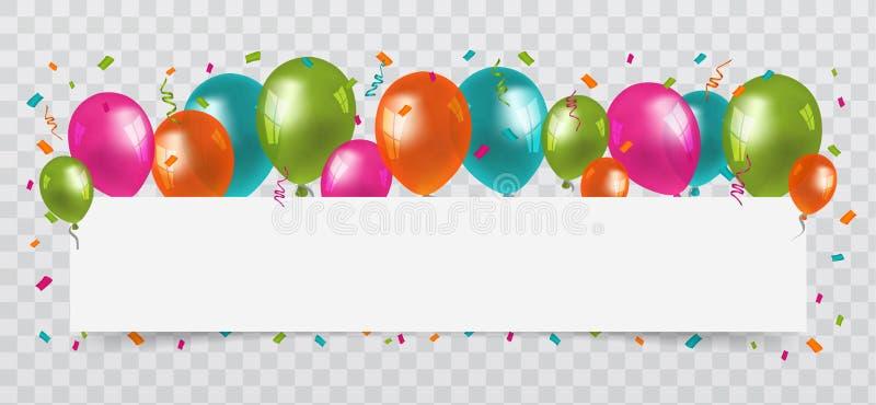 Bunte Ballone mit Konfettis und Ausläufer weißem papierlosem Raum Transparenter Hintergrund Geburtstags-, Partei-und Karnevals-Ve lizenzfreie abbildung