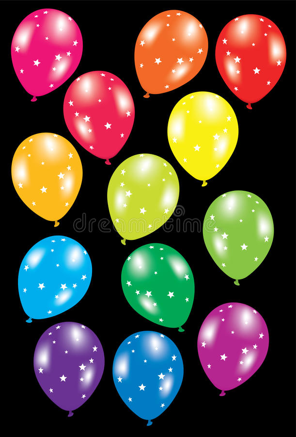 Bunte Ballone mit Sternen stock abbildung