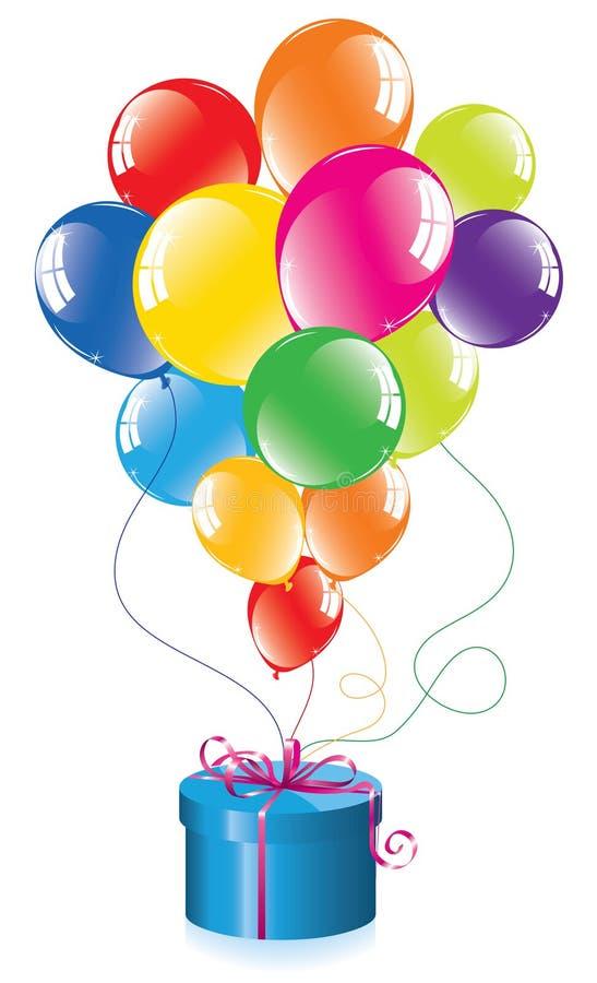 Bunte Ballone und ein Geschenkkasten stock abbildung