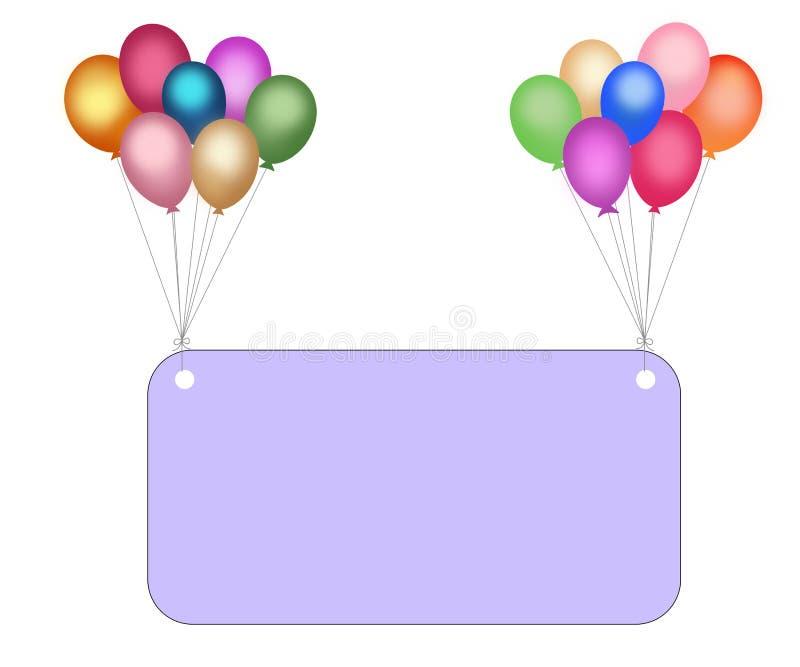 Bunte Ballone und leere Anschlagtafel mit clippin vektor abbildung
