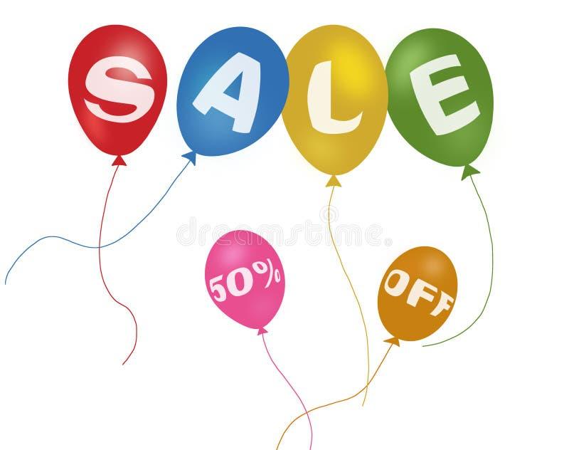 Bunte Ballone und Rabattverkauf stock abbildung