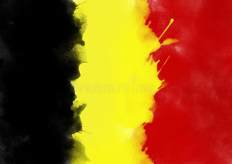 Bunte Belgien-Flagge vom Aquarell, Schmutzart stockfotografie