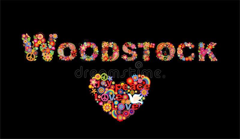 Bunte beschriftende Woodstock-Blumen und Hippieherzform mit flower power-, Regenbogen- und Papiertaube für T-Shirt Druck, Parteip lizenzfreie abbildung