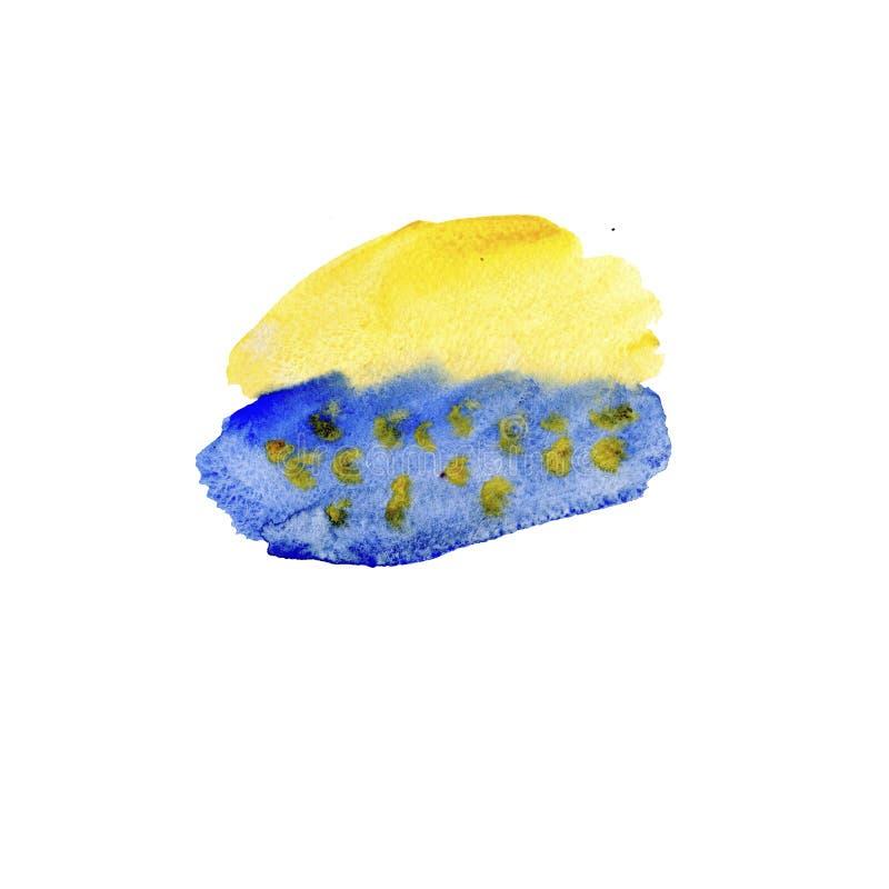 Bunte blaue und gelbe Aquarellbeschaffenheiten auf Wei?buchhintergrund Handgemalte abstrakte Illustration lizenzfreie abbildung