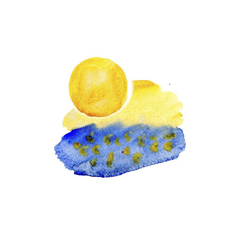 Bunte blaue und gelbe Aquarellbeschaffenheiten auf Wei?buchhintergrund Handgemalte abstrakte Illustration vektor abbildung