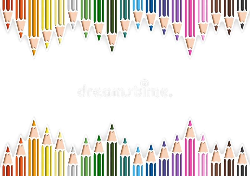 Bunte Bleistifte in der Ausschnitt-Art auf weißem Hintergrund lizenzfreie abbildung