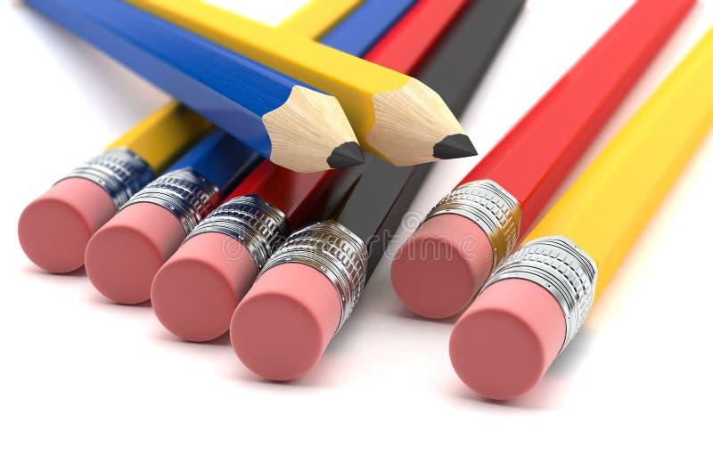 Bunte Bleistifte getrennt lizenzfreie abbildung