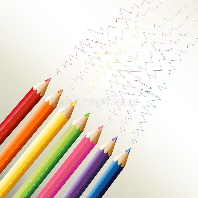 Bunte Bleistifte mit Zickzacklinien stock abbildung