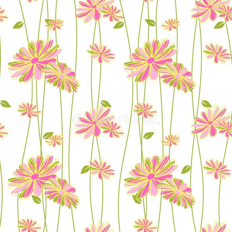Bunte Blumen-nahtloser Muster-Hintergrund vektor abbildung