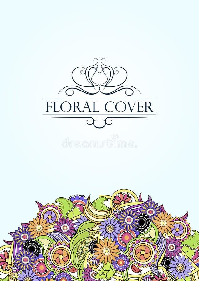 Bunte Blumenabdeckung mit dekorativem Text der Weinlese Grün und lizenzfreie abbildung