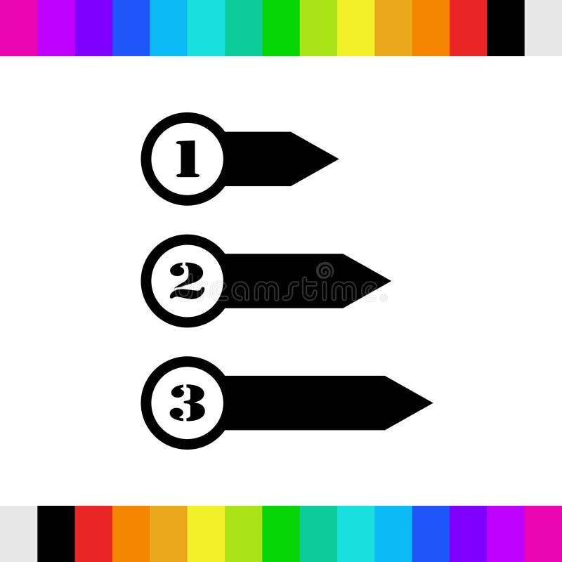 Bunte Bookmarks und Pfeilikone auf Lager flaches Design der Vektorillustration stockfotografie