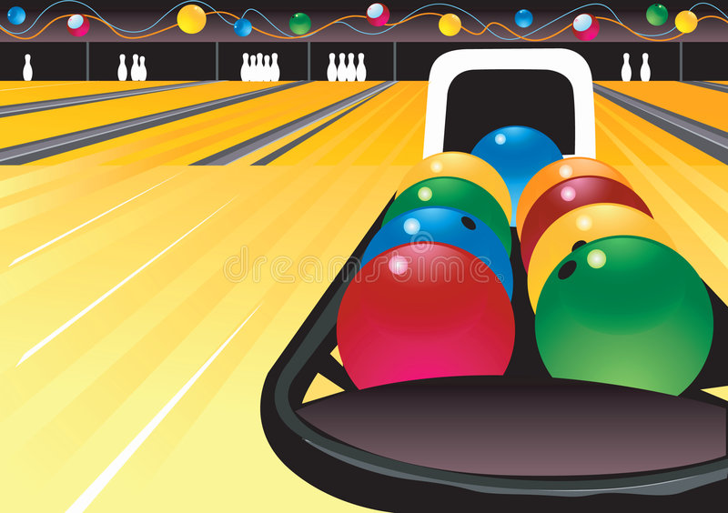 Bunte Bowlingspielkugeln lizenzfreie abbildung
