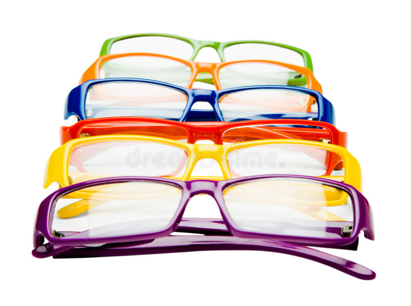 Bunte Brillen in der Reihe stockfotografie