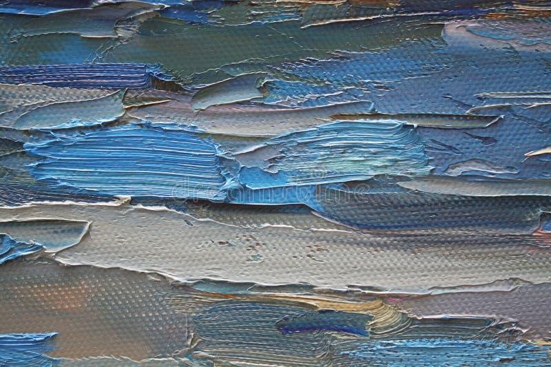 Bunte Brushstrokes im Schmieröl auf Segeltuch stockfoto