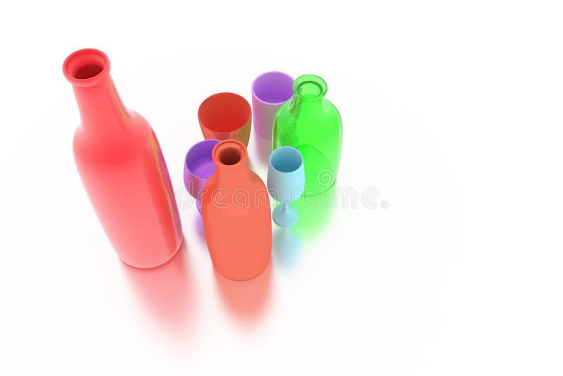 Bunte cgi-Zusammensetzung, concepture Stillleben, Flasche u. Glas f?r Entwurfsbeschaffenheit, Hintergrund 3d ?bertragen vektor abbildung