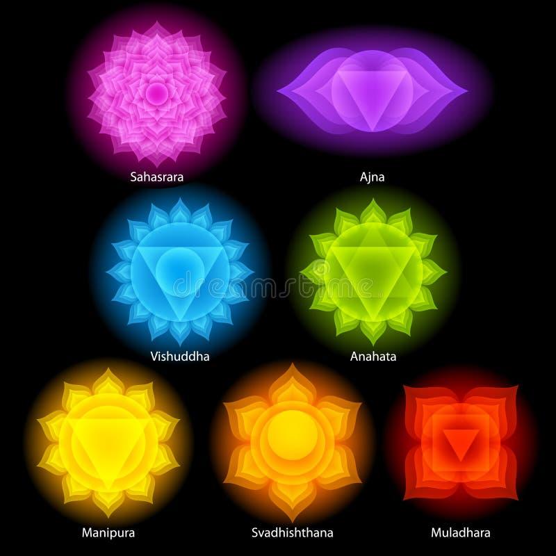 Bunte chakras Symbolikonen eingestellt vektor abbildung