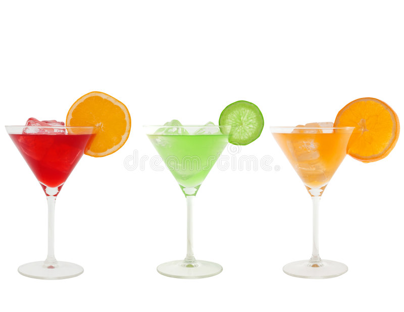 Bunte Cocktails getrennt auf Weiß lizenzfreies stockbild