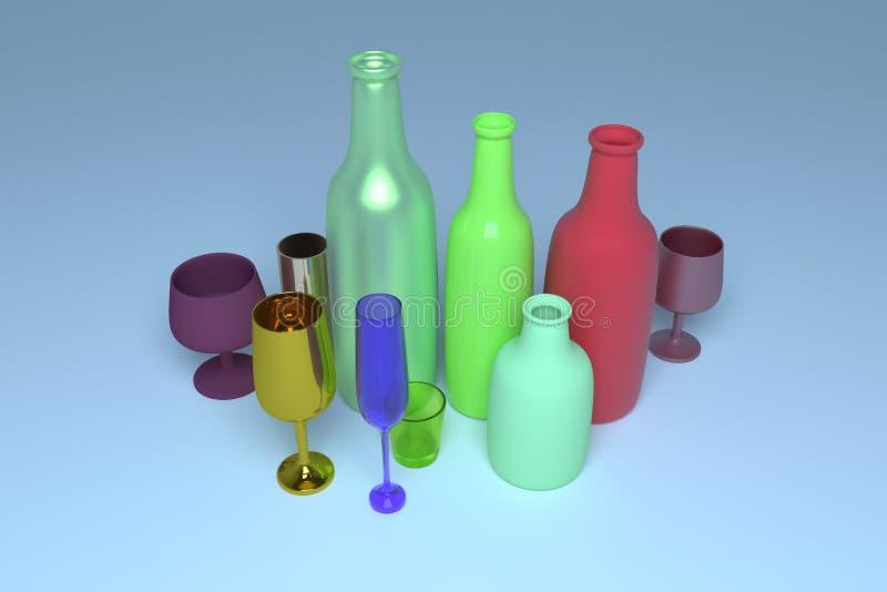 Bunte Concepture-Stilllebenflasche u. -glas F?r Grafikdesign oder Hintergrund cgi-Zusammensetzung 3d ?bertragen vektor abbildung