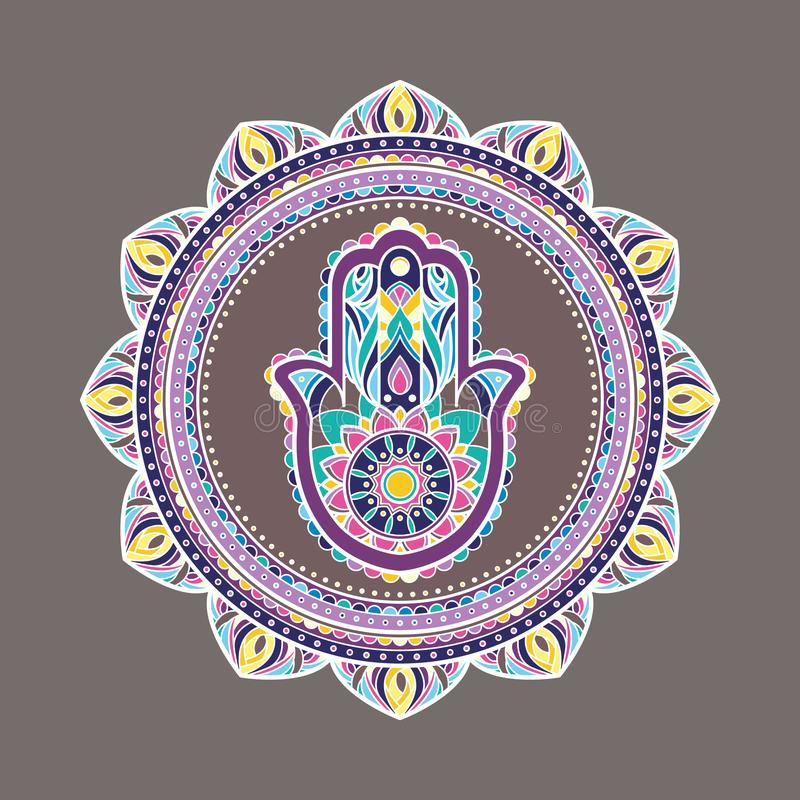 Bunte dekorative Mandala mit einer hamsa Hand in der Mitte stock abbildung