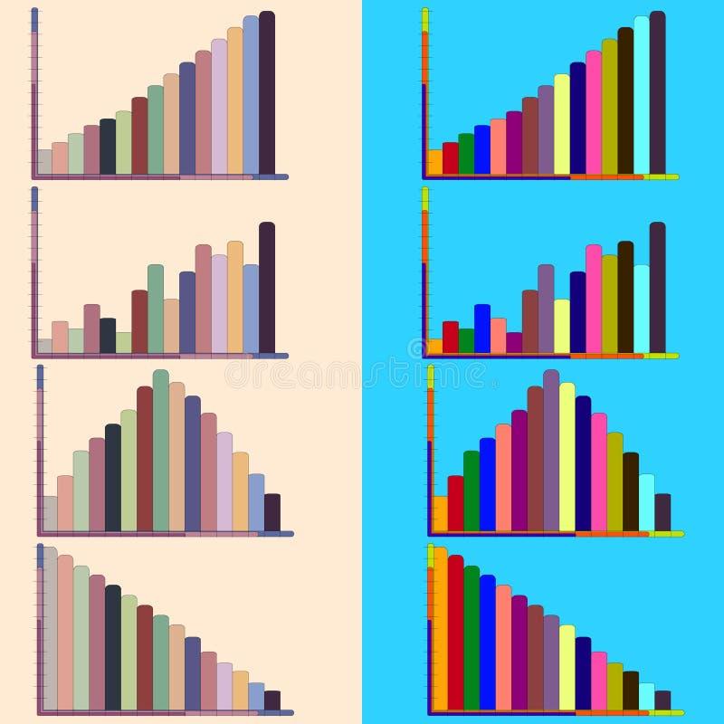 Bunte Diagramme und Diagramme stockbild
