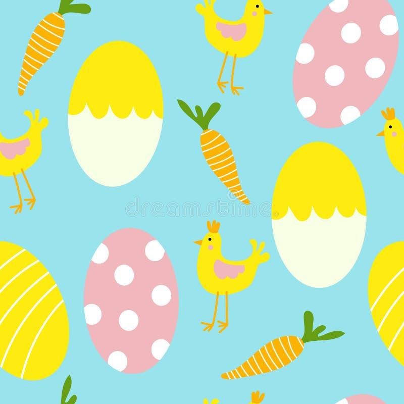 Bunte Easter Eggs und Hühnernahtloser Muster-Druck-Hintergrund vektor abbildung