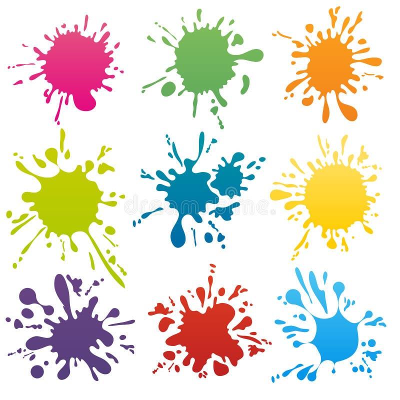 Bunte eingestellter Vektor der Tinte Stellen lizenzfreie abbildung