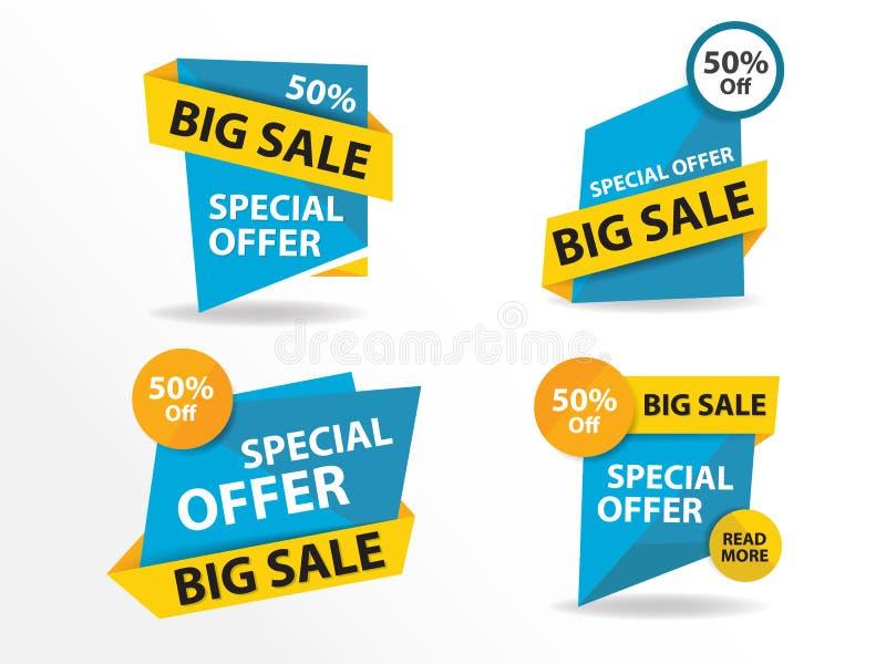 Bunte Einkaufsverkaufs-Fahnenschablone, Rabattverkaufs-Fahnensammlung lizenzfreie abbildung