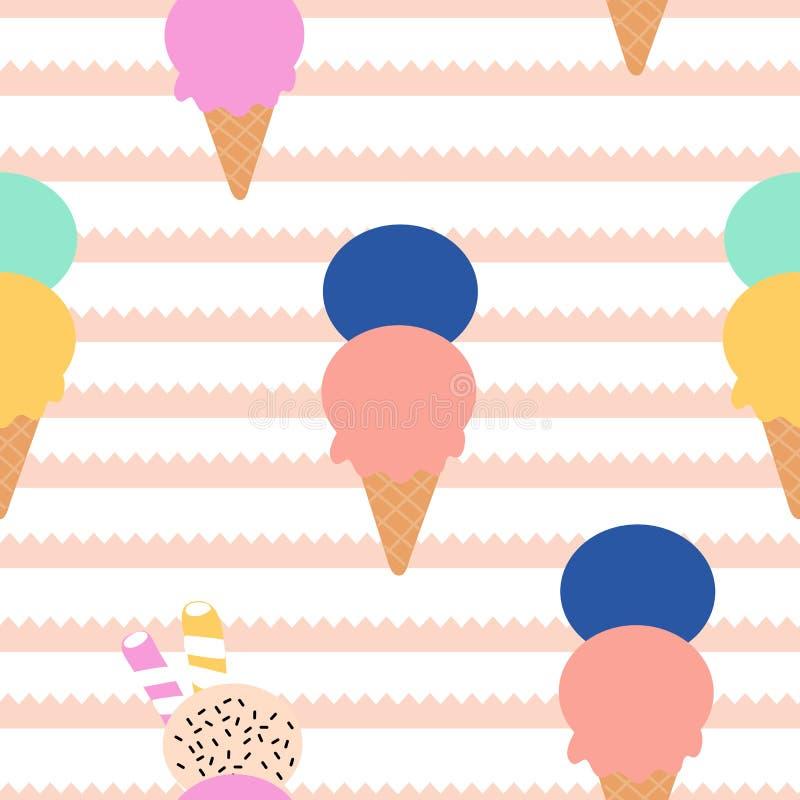 Bunte Eiscreme auf einem gestreiften Hintergrund in einem nahtlosen Musterentwurf lizenzfreie abbildung