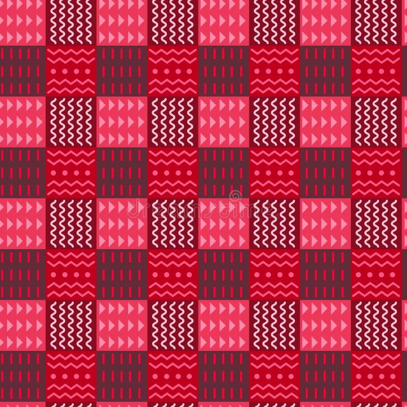 Bunte Elemente des Stammes- karierten nahtlosen Musters, in Verzierungen Quadrate mit den roten Farben unterteilt Halbton, ethnis lizenzfreie abbildung