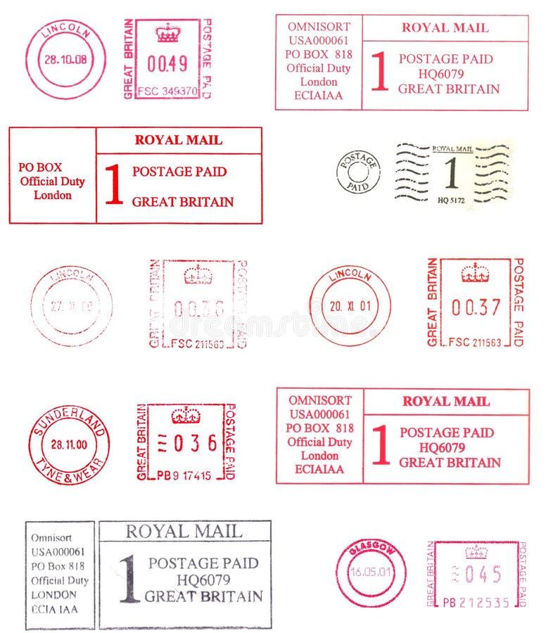 Bunte englische Poststempel lizenzfreie abbildung