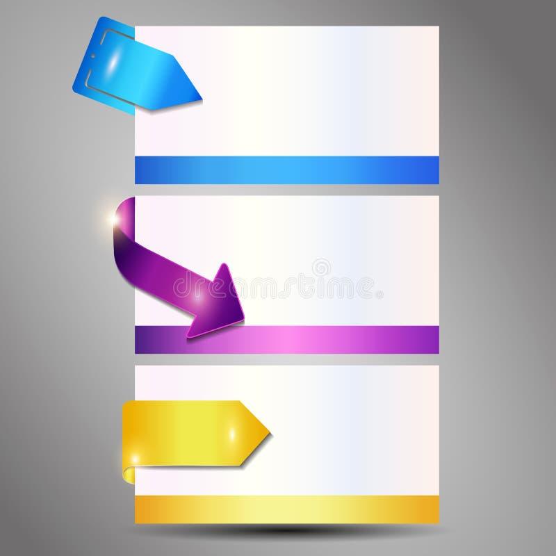 Bunte Fahne des metallischen Clips 3d eingestellt lokalisiert auf grauem Hintergrund lizenzfreie abbildung