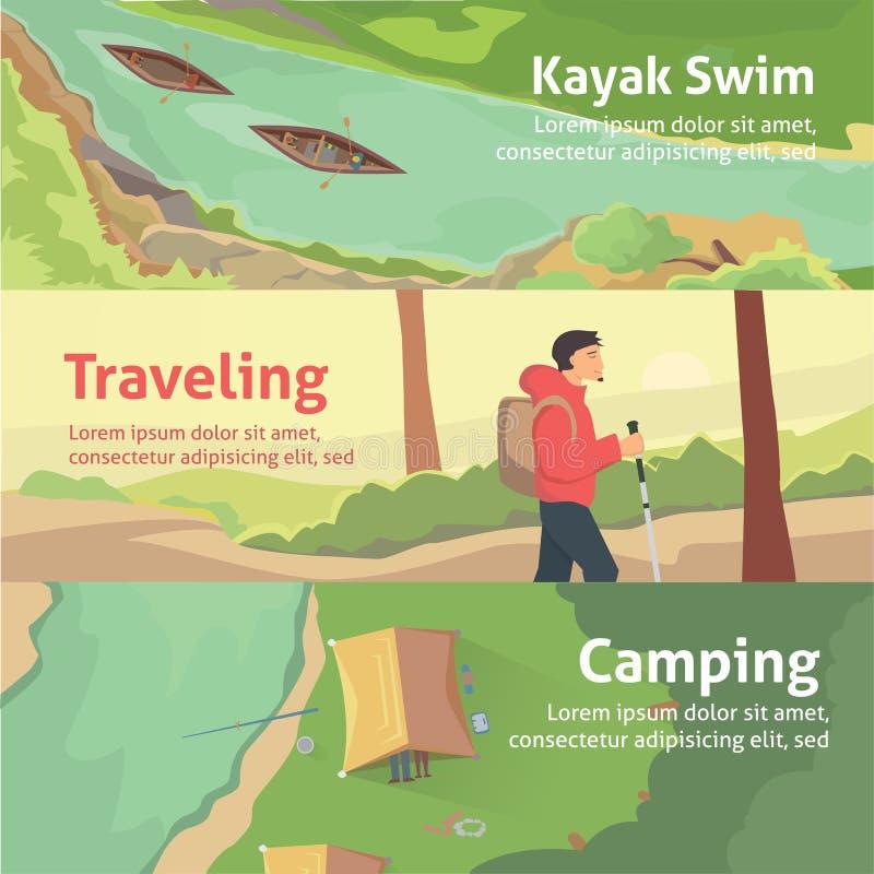 Bunte Fahne stellte für Ihr Geschäft, Website usw. ein Beste Reisen und Kampieren, fahrend Kayak Auch im corel abgehobenen Betrag vektor abbildung