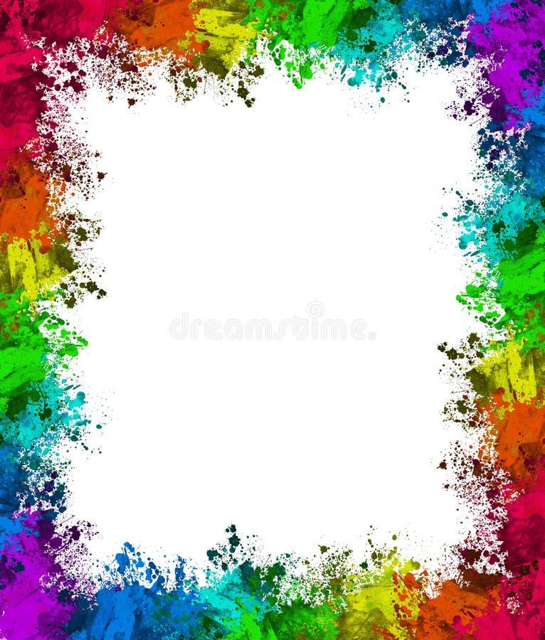 Bunte Farbe plätschern Grenze stock abbildung
