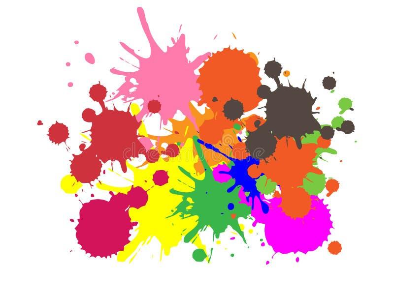 Bunte Farbe   Tinte spritzt   Tropfen   Vektor-Schmutz-Hintergrund vektor abbildung