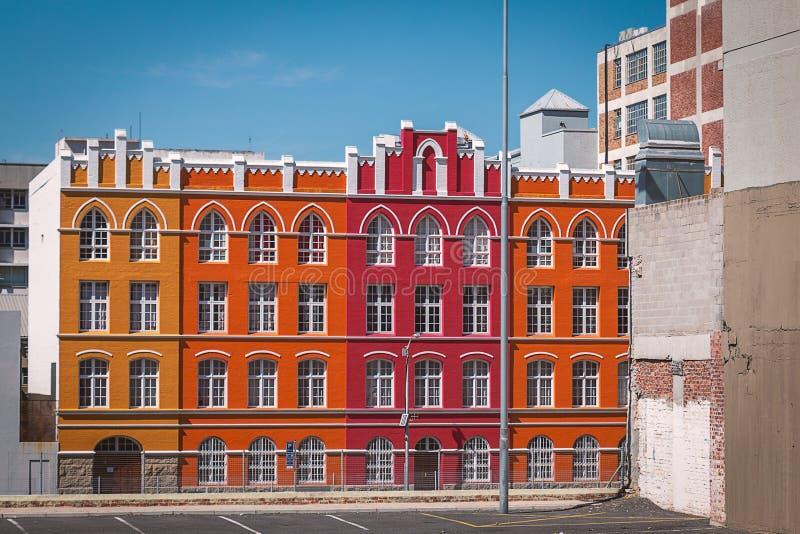 Bunte Fassaden in Bezirk sechs in Cape Town stockbild