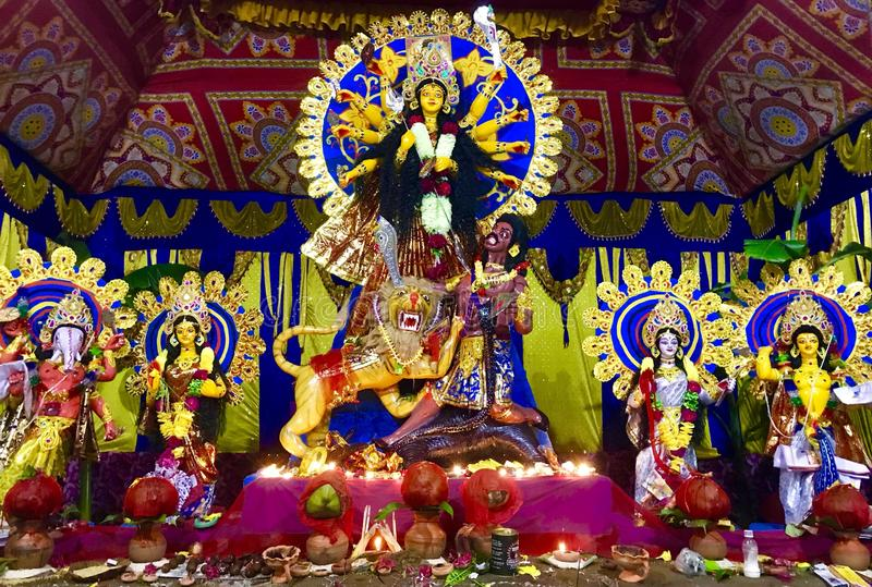 Bunte Feier Durga Pujas in Indien lizenzfreies stockfoto