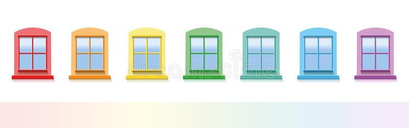 Bunte Fenster stock abbildung