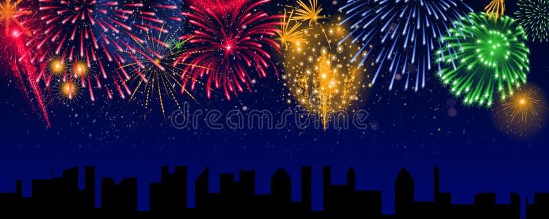 Bunte Feuerwerke über der Stadt, Fahne lizenzfreie stockbilder