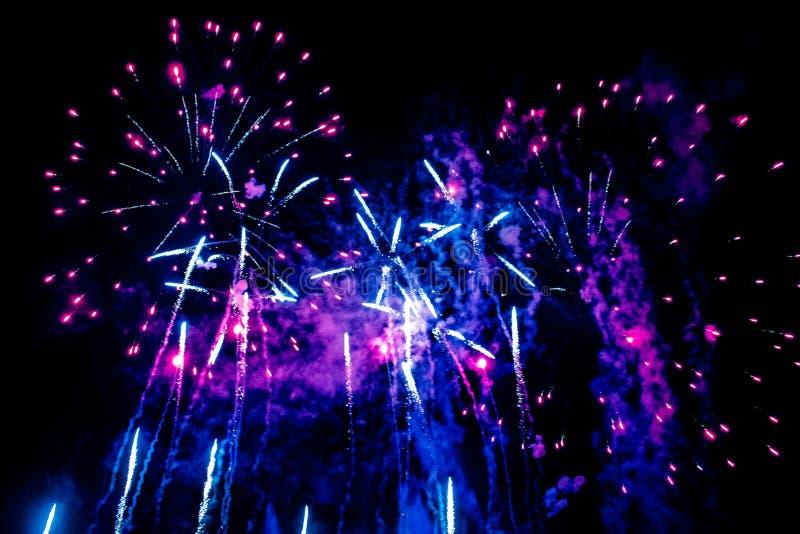 Bunte Feuerwerke in der elektrischen Ozeanshow bei Seaworld 10 lizenzfreie stockfotos