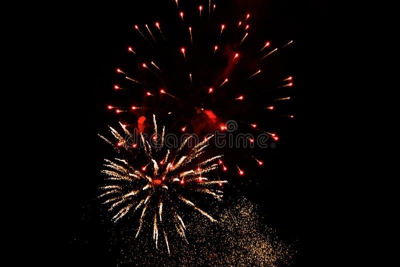 Bunte Feuerwerke in der Nacht stockfotografie