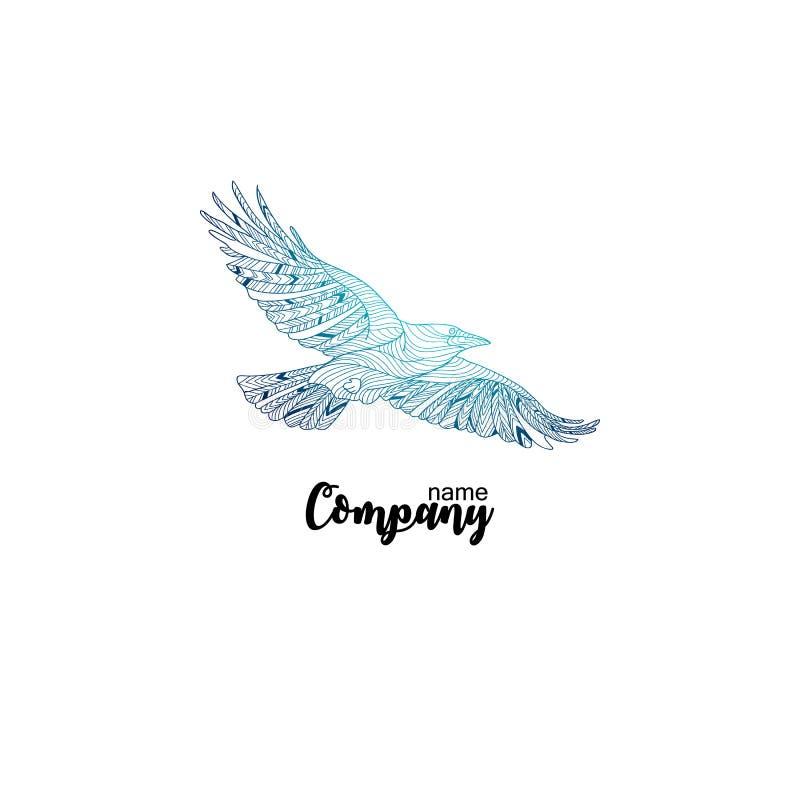 Bunte Firmenikone der Fliegenkrähe Logodesign für Firma vektor abbildung