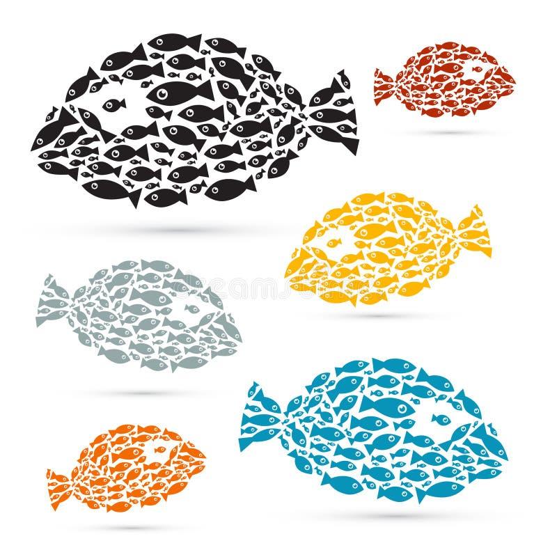 Bunte Fische formten abstrakten Fisch-Satz lizenzfreie abbildung