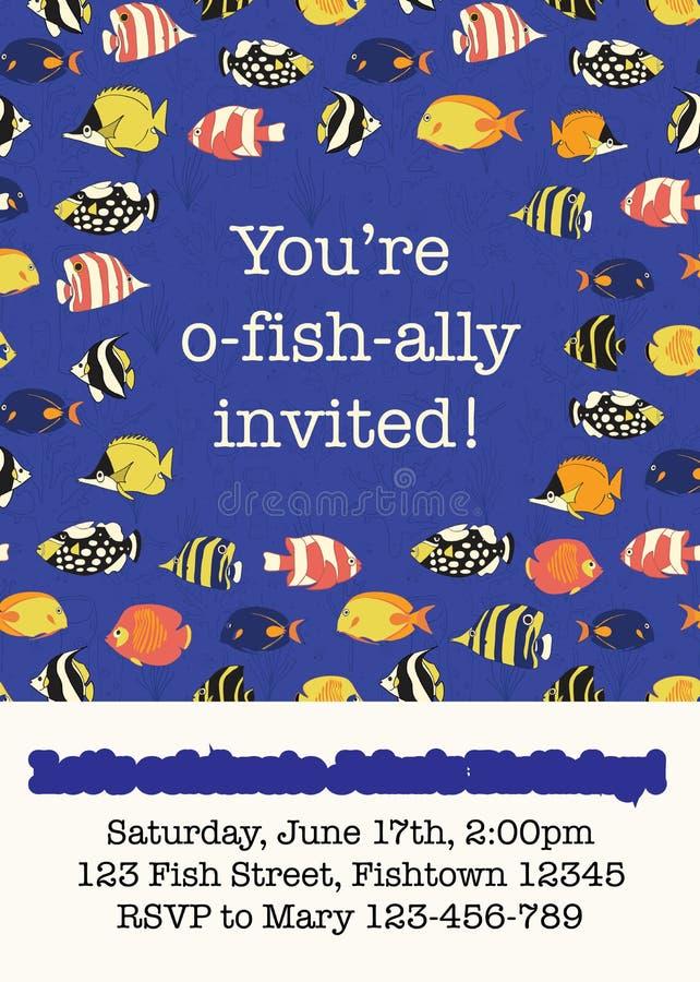 Bunte Fischparteieinladungs-Kartenschablone Tropische Rifffische der Vektorillustration Sie sind der eingeladene O-Fischverbündet vektor abbildung