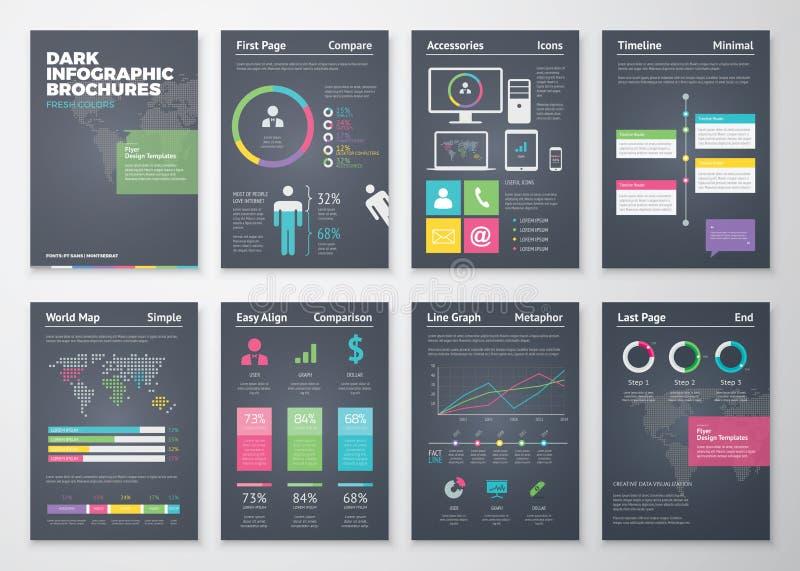 Bunte flache infographic Schablonen auf schwarzem Hintergrund