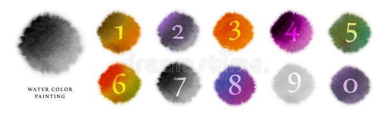 Bunte Flecke Hintergrund der Aquarellfarbenvektorbeschaffenheits-Illustration und Zahlsatz vektor abbildung