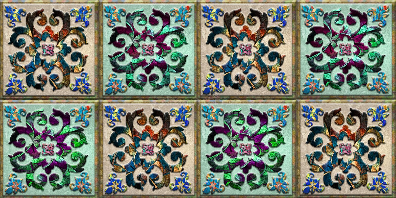 Bunte Fliesen entwerfen für Dekorinnenhaupt- oder Keramikziegelentwurf, Hintergrund, Linoleum, Illustration, Gewebe lizenzfreies stockbild