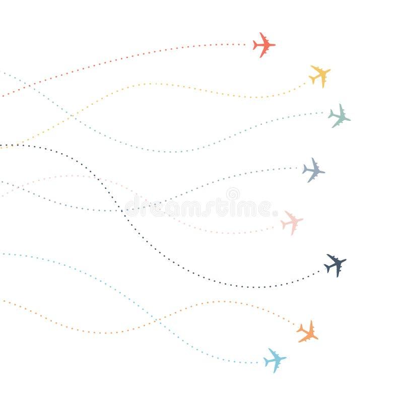 Bunte Flugzeuglinie Weg Flugwege der punktierten Linien der Fluglinie vektor abbildung